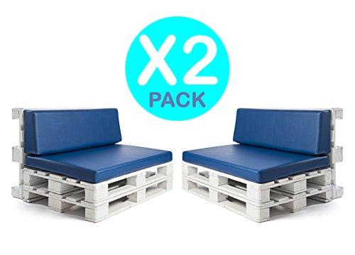 SUENOSZZZ- Pack Juego de Cojines para Palet Europeo. 2 Asientos y 2 Respaldos de Espumacion HR enfundados en Polipiel Azul. Exterior e Interior. Desenfundables.