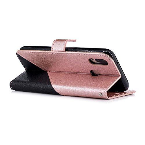 Surakey Coque Compatible avec Huawei P20 Lite,Etui Huawei P20 Lite,Huawei P20 Lite Cuir PU Housse ?Rabat Portefeuille ?ui Flip Case Folio ?Clapet Stand de Fermeture magn?ique,Noir+Rose Or