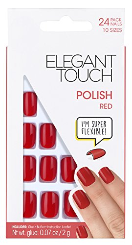 Elegant Touch Polished Nails Red Square Faux Ongles 24 Pièces