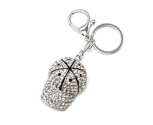 pt1512e–Schlüsselanhänger/-Schmuckstück tasche–Cap Metall Strass Silber mit schwarzen Details