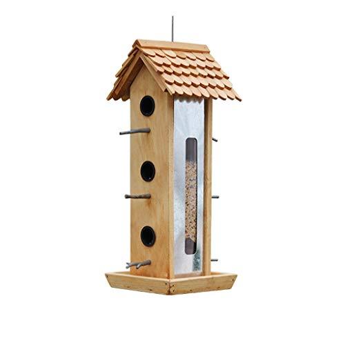HBJP Vogelfutterbox/hängende Vogelzufuhr aus Holz/Multi-Opening-Futterbox für große Mengen mit Stehhilfe