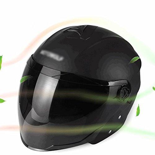 Lidauto casco semintegrale moto caschi scooter cross estivo leggeri per donna uomo,matte-black