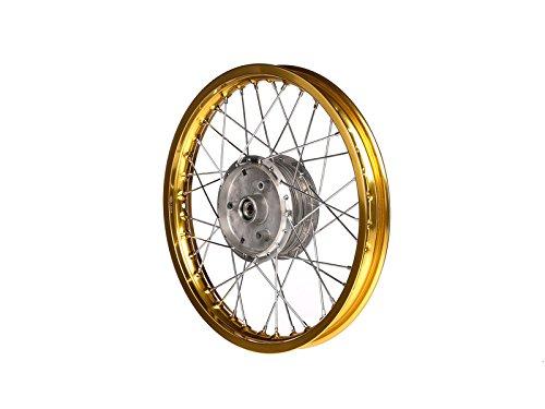 Preisvergleich Produktbild MZA Mängelexemplar,  Speichenrad 1, 5 x 16 Alufelge,  Gold eloxiert,  Chromspeichen - Simson S50,  S51,  KR51 Schwalbe,  SR4