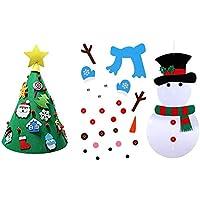 Árbol de Navidad DIYAsamblea Artificial del árbol de Navidad Artificial de 3 pies, Soporte 3D Tree + Muñeco de Nieve con 49 Piezas Adornos Colgante de Pared de Navidad para niños Navidad(A1)