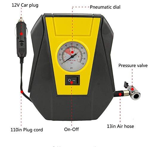 kgftdk Auto-Luftpumpe Reifenfüller Auto-Luftkompressor Elektrische Pumpe tragbar Auto 12 V DC Volt 100 Psi Luftkompressor für Auto Motorräder Fahrräder -