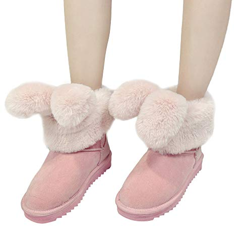 OSYARD Damen Hasen Ohren Schneestiefel Halbschaft Stiefel Wildleder Flache Sole Stilvolle Faltbare Kaninchen Winter Schuhe Plüsch Knöchel Schnee Stiefel(220/35, Rosa) -
