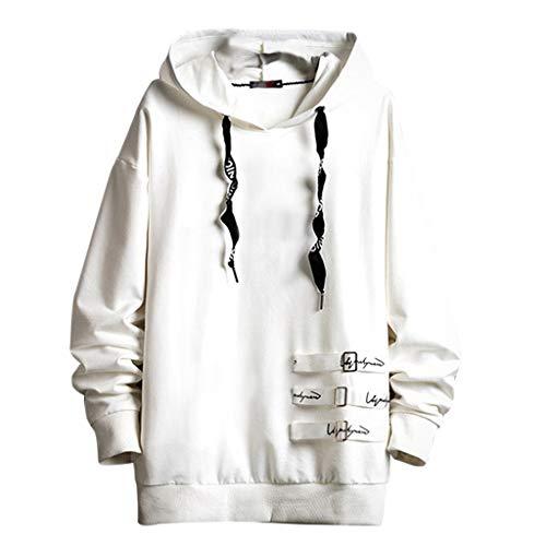 Fenverk Herren Jjeholmen Sweat Hood Noos Sweatjacke Hoodie Kapuzenpullover Sweatshirt Pullover Streetwear, Sweater Sportlicher Kapuzen-Pullover, Pulli FüR MäNner(Weiß,XXL)