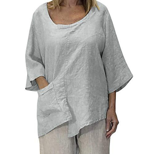 TOPSELD T Shirt Damen, Plus Size Frauen O-Ansatz Reine Farben Taschen Irregularity,Halb Sleevetops Bluse Cropped Athletic Hosen