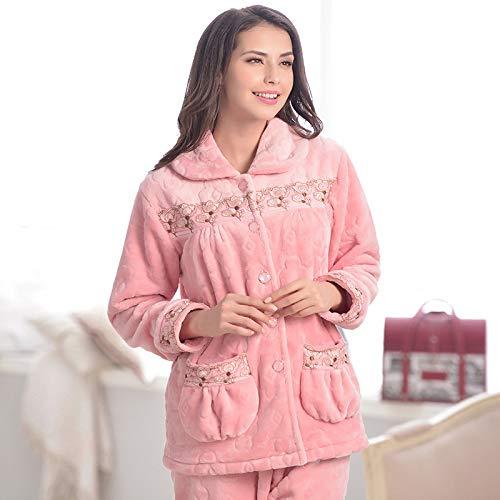 Yshuiyi Pyjamas Frauen Pyjamas Flanell Langärmeligen Herbst Und Winter Mädchen Pyjamas Coral Fleece Home Service Warme Pyjamas Anzüge