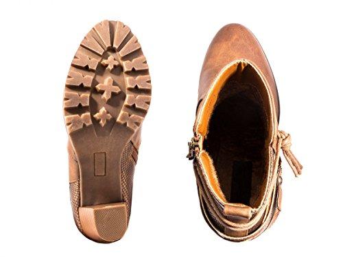 Elara Damen Stiefeletten | Lederoptik Prints | Blockabsatz Profilsohle Khaki New