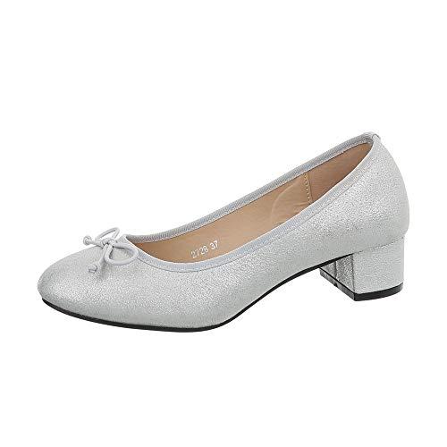 Ital-Design - Scarpe da Donna con Tacco Classico, Argento (Silber 2728-), 39 EU