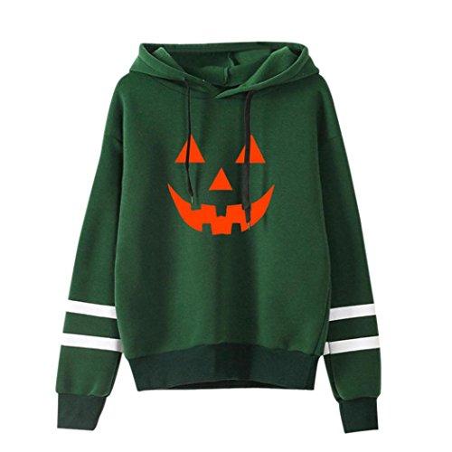 Amlaiworld Halloween Stripe locker Sweatshirt damen mit aufdruck kürbis Kapuzenpullover warm weich Herbst Winter pulli halloween kostüm (S, Grün)