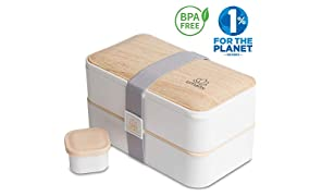 Umami® ⭐ Lunch Box Blanc Bambou | Boîte Bento Japonaise Premium avec 3 Couverts Solides Et 1 Pot À Sauce | 1200ml | Hermétique | Passe Au Micro-Ondes Et Au Lave-Vaisselle | sans BPA | Marque Déposée
