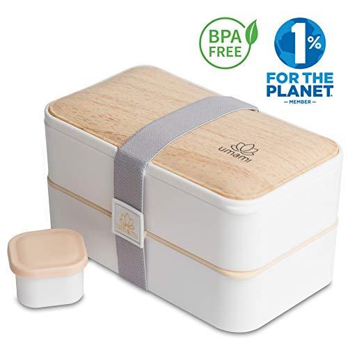 Umami  Lunch Box Blanc Bambou | Boîte Bento Japonaise Premium avec 3 Couverts Solides Et 1 Pot À Sauce | 1200ml | Hermétique | Passe Au Micro-Ondes Et Au Lave-Vaisselle | sans BPA | Marque Déposée