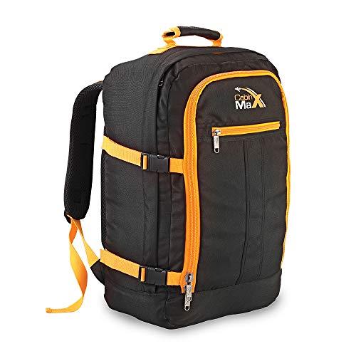 k Rucksack 44 Liter - Leichtgewicht Reiserucksack für das Flugzeug Bordgepäck 55x40x20 cm - Robuster & praktischer Backpack - Hochwertiger Kabinenkoffer (Schwarz/Gelb) ()