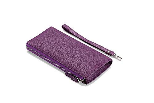 Artmi Unisex in Pelle Morbida Portafoglio Compact Card Case Telefono Portafogli Lungo Stile nero Green Purple