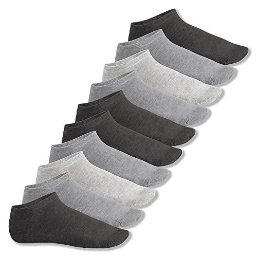 Footstar Herren & Damen Sneaker Socken (10 Paar), Kurze Sportsocken aus Baumwolle - Sneak It! - Classic Grey 43-46