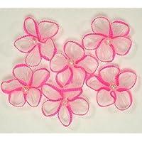 Delicato fiore grande fiocco rosa bordatura, decorazione con perle in centro X 10confezioni da 6