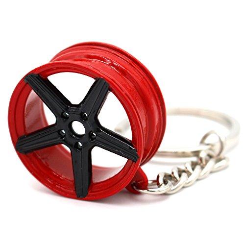 VmG-Store MB Style Design Felge Rot/Schwarz Schlüsselanhänger - massiver Anhänger OEM VAG Dub - Und Schwarze Rote Felgen