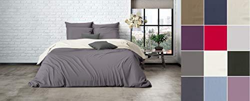 Uni Einfarbig Wende Bettwäsche Mistral Home Edel Perkal 100% Ägyptische Baumwolle, Größe:135x200cm Bettwäsche, Farbe:Pristine-Dark Grey