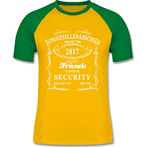 JGA Junggesellenabschied - JGA Groom Security 2017 Lettering - zweifarbiges Baseballshirt für Männer Gelb/Grün