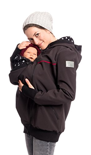 Viva la Mama 3in1 Tragejacke für Mama und Baby I Softshell Umstandsjacke Kängurujacke Umstandsmode Kapuzenjacke mit Tragefunktion I JACKY schwarz Schwalben - M