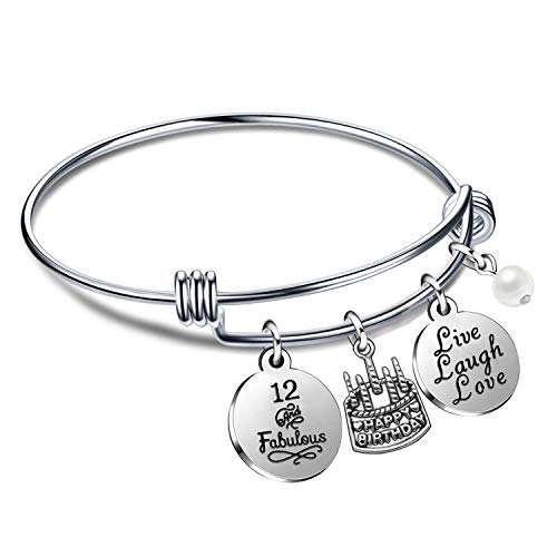 Regali di compleanno per lei Braccialetti con braccialetti per donna Ragazza dal vivo Ridi dal 10 ° al 70 ° (12° Compleanno)