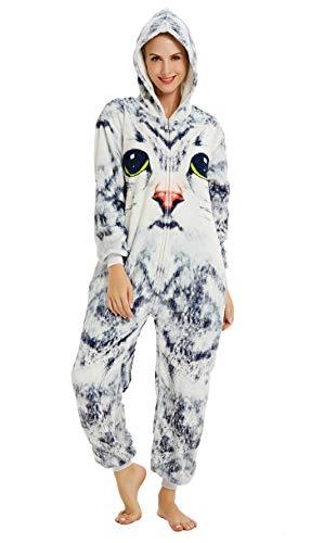 Adult Popeye Kostüm - URVIP Neu Unisex Adult Pyjama Cosplay Tier Onesie Body Nachtwäsche Kleid Overall Animal Sleepwear Schlafanzug mit Kapuze Erwachsene Cosplay Kostüm Blau Weiß-Katze L