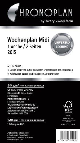 Chronoplan 50545 Kalendarium Wochenplan Midi, 1 Woche/2 Seiten, 2015, 1 Stück, weiß