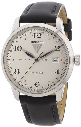 Junkers Herren-Armbanduhr XL Dessau 1926 Flatline Analog Automatik Leder 63504