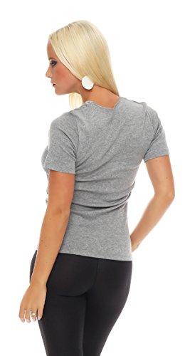 Damen-Hemd mit Spitze und V-Ausschnitt (Shirt, Top, Damenhemd) Nr. 404 ( Grau / 52/54 - (XX-Large) ) - 3