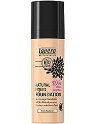 lavera Natural Liquid Foundation Makeup ∙ Farbe Ivory Nude Hautfarbe ∙ 10h Long Lasting ∙ Natural & innovative Make up ✔ vegan ✔ Bio Pflanzenwirkstoffe ✔ Naturkosmetik ✔ Teint Kosmetik 1er Pack (1 x 30 ml)