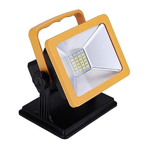 Vicloon 15W 24LEDS Projecteur Rechargeable Floodlight Lampe de Travaux,Adaptateur et Chargeur de Voiture Inclus(Jaune/Noir)