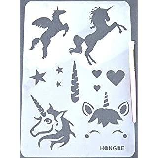 HONGBE Unicorn Wall Stencil with Stencil Brush No 3