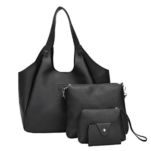 Frauen Vier Set Handtasche Sansee Damen Schultertasche Vier Stücke Einkaufstasche Crossbody Wallet Umhängetasche Schwarz