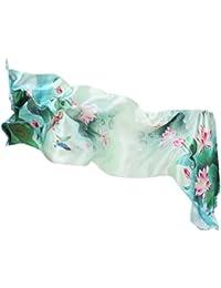 Prettystern - 180cm Damenschal 100% Crepe Satin SEIDE handrolliert China Elemente Kunst Tuch - Musterwahl