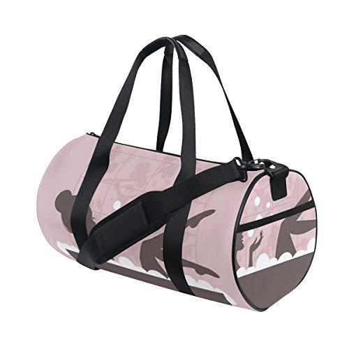 HARXISE Schönheit in der Badewannen-Badekurort-Behandlungs-entspannenden Konzept-Weinlese,Reisegepäcktasche Sport Leichte Segeltuch Fitness Gepäcktrommel Handtasche Abnehmbar