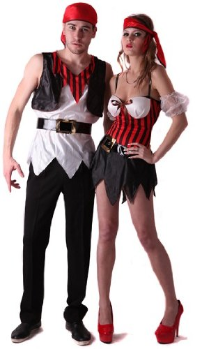 Disfraz de pareja de piratas - S