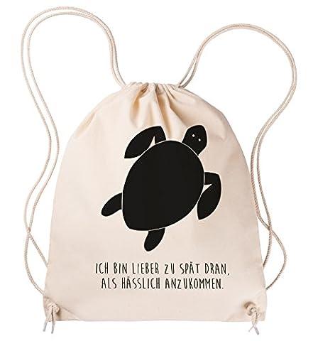 Mr. & Mrs. Panda Sportbeutel Schildkröte - 100% handmade in Norddeutschland - Schildkröte, Panzer, Turtle Sportbeutel, Gymsack, Hipster, Turnbeutel, Jutebeutel, Sporttasche, Tasche, Tragetasche Schildkröte, Panzer, Turtle