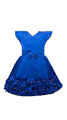 My Lil Princess Baby Girls Birthday Party wear Frock Dress_ Blue Satin...