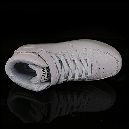 IDEA FRAMES Unisexe Femmes Hommes 7 Couleur LED Chaussures USB Rechargeable Haut-Blanc