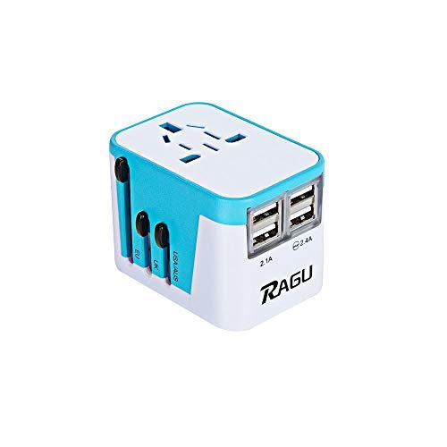 Ragu Universal Reiseadapter 4 USB für EU UK US AU Asia 224+ Ländern -