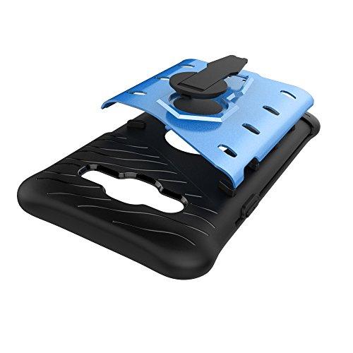 YHUISEN Galaxy J5 2015 Case, Hybrid Tough Rugged Dual Layer Rüstung Schild Schützende Shockproof mit 360 Grad Einstellung Kickstand Case Cover für Samsung Galaxy J5 2015 ( Color : Biue ) Biue