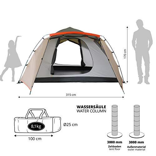 Lumaland Outdoor Pop up Familienzelt Wurfzelt 6 Personen Zelt Camping Festival Etc. 315 x 245 x 170 cm robust Grün - 3