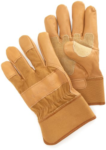 Carhartt Men's Grain Leather Work Glove with Safety Cuff, Brown, X-Large -