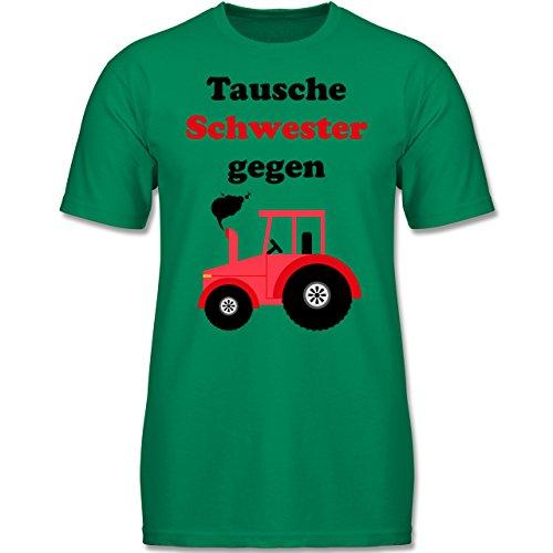 Shirtracer Fahrzeuge Kind - Tausche Schwester gegen Traktor - 104 (3-4 Jahre) - Grün - F140K - Jungen T-Shirt