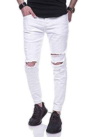 Behype Jeans Destroyed Slim-Fit Hose 80-2021 Weiß 32/32
