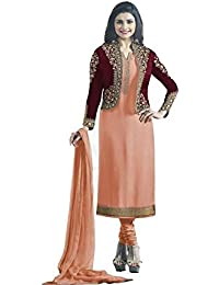 Ethnic Wings Women Satin Georgette Anarkali Semi-Stitched Salwar Suit (EW&ER_ER10783_Light Orange_Free Size)