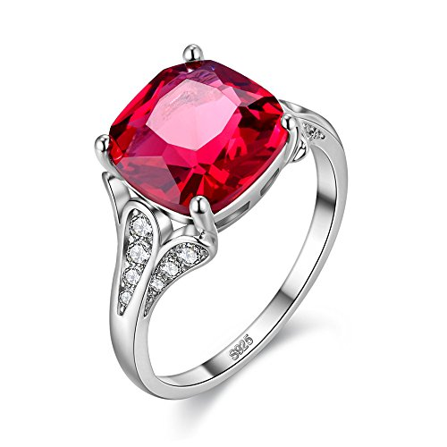 Uloveido Womens Rhodium Plated Square Cushion Cut Mode Engagement Jahrestag Ring Red Crystal Birth-Stone Ringe Schmuck (Größe 57 (18.1))