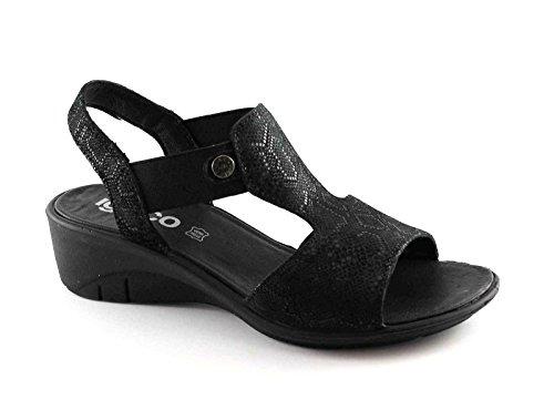 Igi&Co 78184 Femmes Noires Chaussures Wedge Sandales en Cuir Élastique Nero